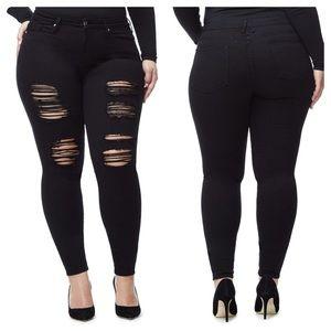 Good American Good Legs Black Distressed Jeans